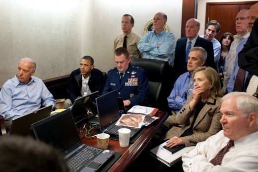 Obama, Joe Biden and members of the National Security team await updates on Operation Neptune's Spear which was the surgical raid in which Osama Bin Laden was killed in Pakistan.