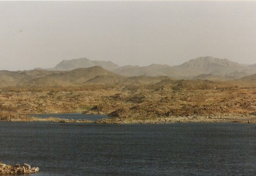Looking east towards the Syenite highlands which typify southeast Egypt from the area around the Aswan Dam.