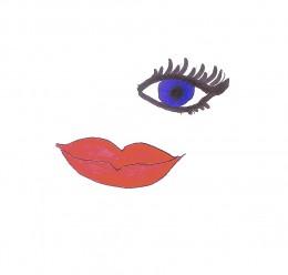 Red lipstick and dark eyeliner