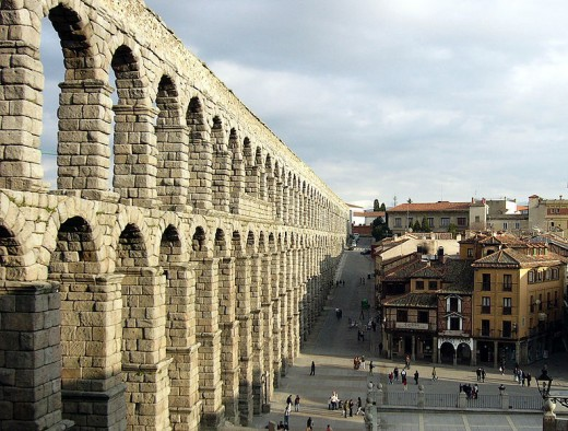 The Aquaduct in Segovia, Spain;  still in working order today.