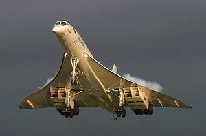 Anglo French Supersonic Transport. Flies twice the speed sound