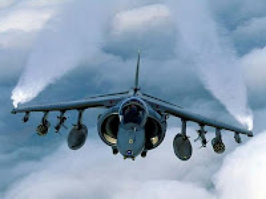 Anhedral high wing VTOL / STOL harrier aircraft