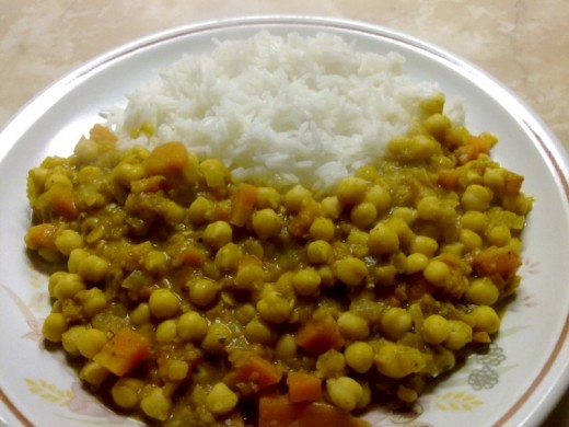 Chickpea Moloshyam with basmati rice