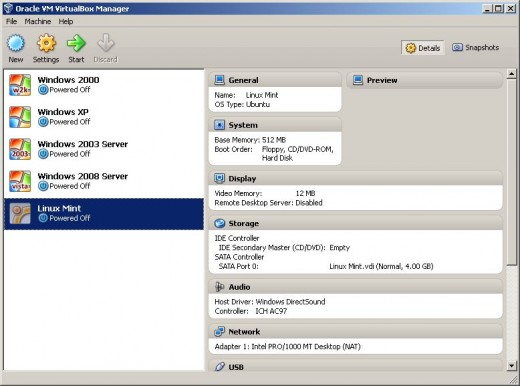 The new VM you've created will now be listed in the VirtualBox Manager