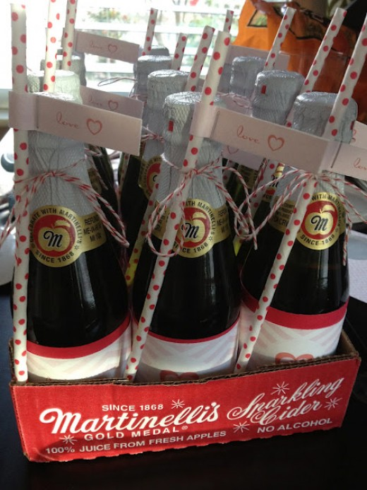 Personalized Martinelli's with Valentine straws
