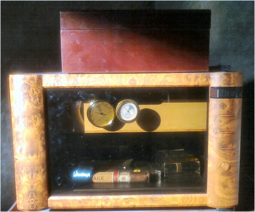 Two of the author's humidors - 70 degree and 70% humidity at all times!