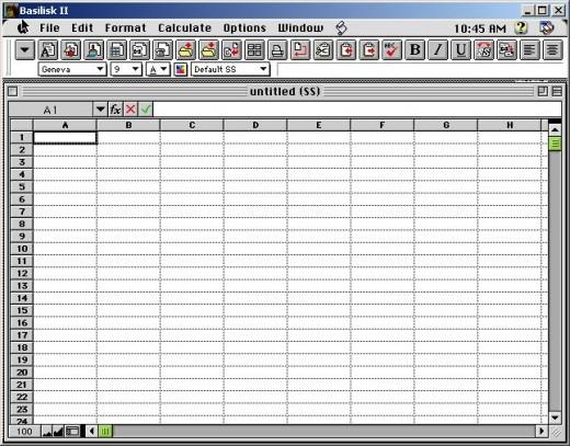 ClarisWorks Spreadsheet running inside of Basilisk II