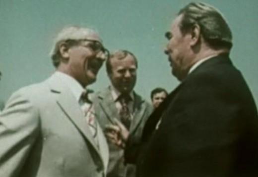 Erich Honecker (left) meets Leonid Brezhnev
