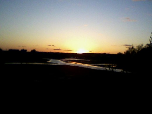 Walking the dog at sunset