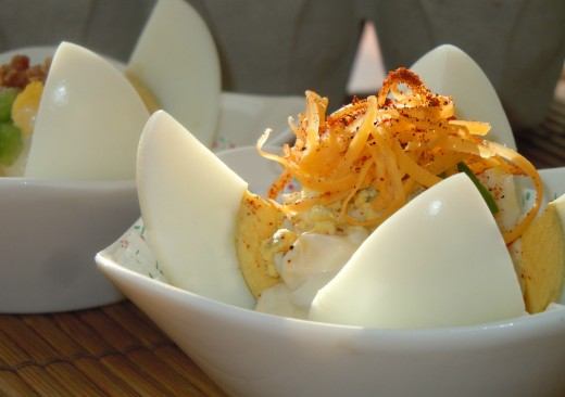 Egg Salad Lotus with Cheddar cheese and sweet paprika