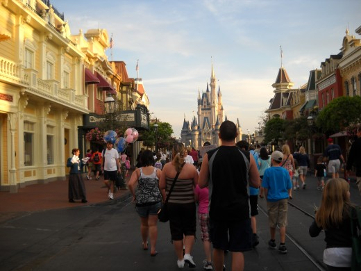 Main Street at the Magic Kingdom right after the park opens.