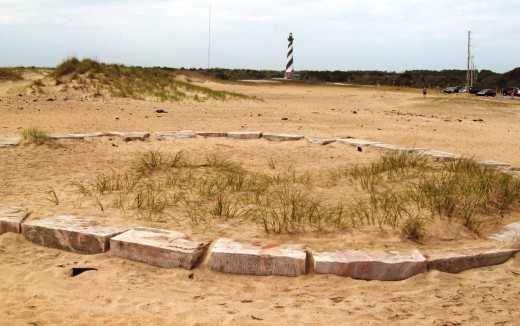 Cape Hatteras lighthouse - view from the old site with the new site in the background.