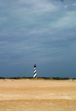 The Cape Hatteras Lighthouse view from the beach.
