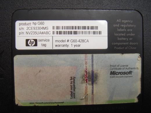 Product key not legible.