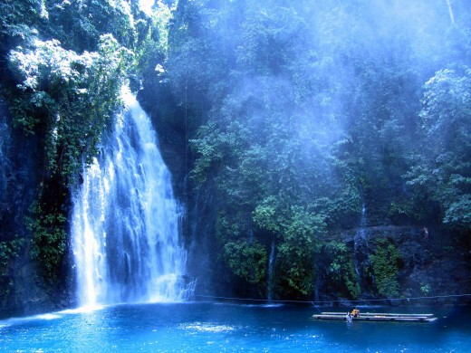 the beautiful Tinago falls with turquoise colored water