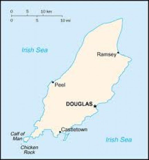 The Isle of Man off the coasts of England, Scotland and Ireland in the centre of the Irish Sea. Anglesey (Wales) lay to the south. The Manxmen owed no loyalty to any of the four