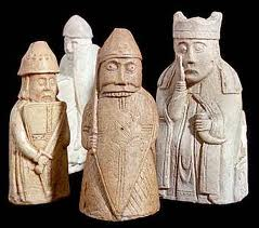 From the Outer Hebrides, north-west of Scotland, are some of the Ljodhus  (Lewis) chess pieces. The game was first introduced to Britain by the Norsemen through trade with the east. Lewis was the larger part of the island shared with the Scots' kings