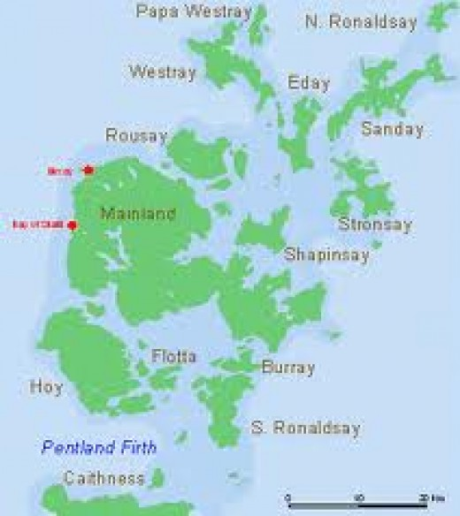 The Orkney Islands a short way north across the sea from Caithness - latterly used by the Royal Navy as a fleet anchorage, western approaches