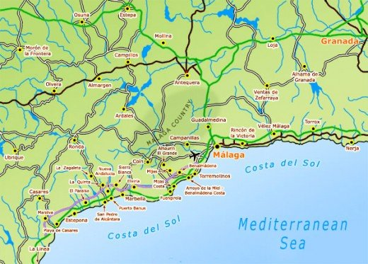Malaga and the Costa del Sol region and beaches.