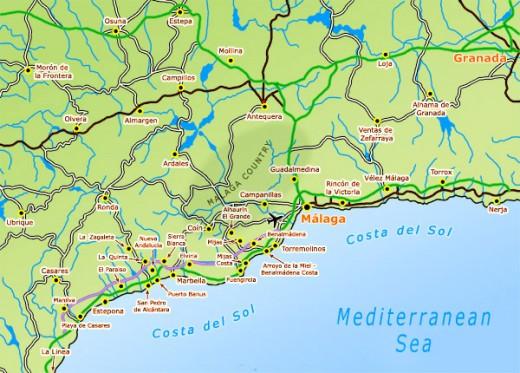 Malaga and the Costa del Sol region and beaches.