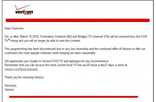Verizon's letter that two channels are being cancelled