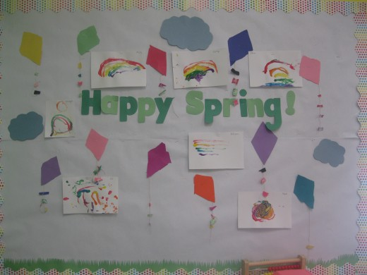 The rainbow paintings were perfect for my Happy Spring board!