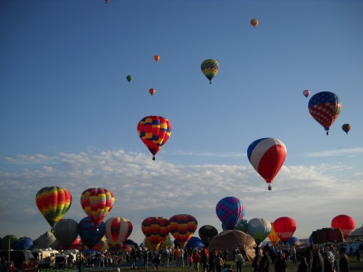 Second round of mass ascension on a typical Balloon Fiesta morning.