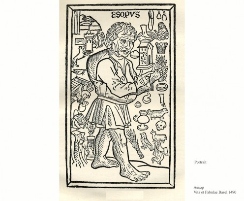 Supposed portrait of Aesop from the collection published by Phortzheim in Basle in 1501 and one of 335 woodcuts in this edition. Aesop is surrounded by small motifs taken from the fables.