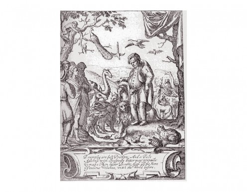 from Ogilby's Fables of Aesop , London 1651, the titlepage. Compare with the French edition of La Fontaine above.