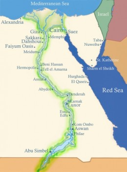map of Nile river