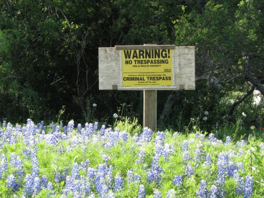 Private property sign: Most of Texas is private land but in California, 50% of the land is public property.  What is the responsibility of the government to preserve public lands? (value)