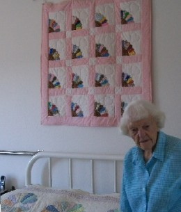 Mother's quilting skills and artistic talent were displayed in wall hangings, hand sewn quilts, arcrylics and oil paintings.