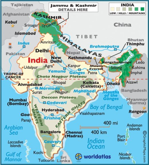 INDIA is located in southern Asia, bordered in the north by Pakistan, Nepal, Bangladesh and China.