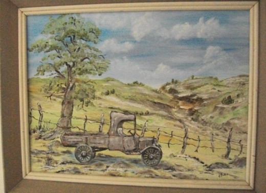 This rustic scene was painted from reality.  And the truck still ran, rattles, dents and all!  Well, it ran downhill!