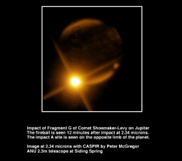 One of the most spectacular images of the fragments of comet Shoemaker-Levy 9 striking Jupiter. That fireball is bigger than Earth.