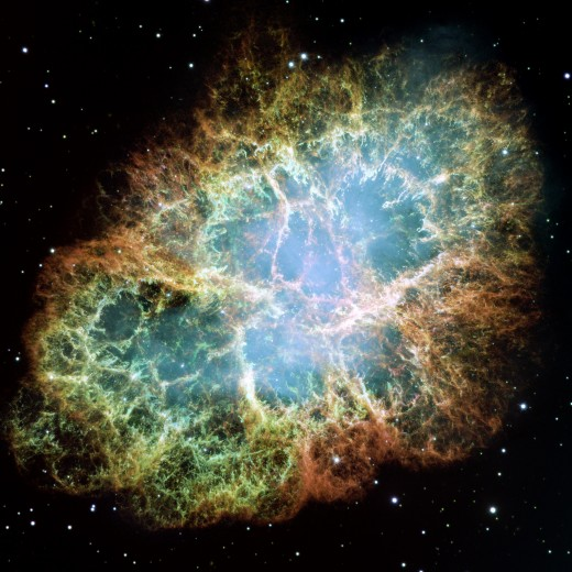 The crab nebula in Taurus is a new nebula formed from a star that went supernova (exploded). The nova was spotted as a huge bright star by Chinese, Japanese and Arab astronomers in 1054 AD.