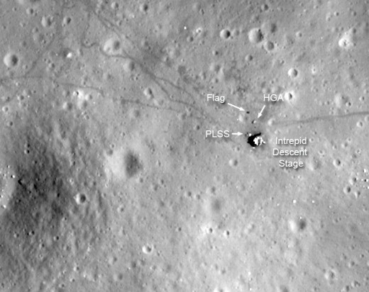 When the Lunar Reconnaissance Orbiter returned to the moon in 2009, it was supposed to be looking for new things, but it also snapped many photos of the old moon lander sites, showing tracks, equipment, buggies and landing gear left behind.