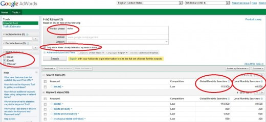 Sample keyword research using google keyword tool