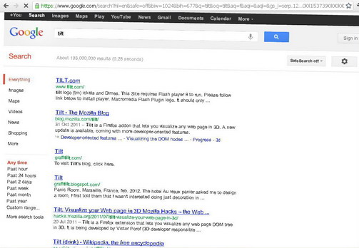 If you type 'askew' on Google search textbox, the search result page will become a bit tilt