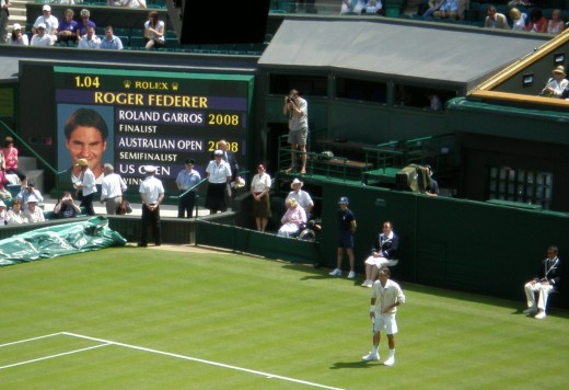 Roger Federer on Centre Court at the 2008 Wimbledon