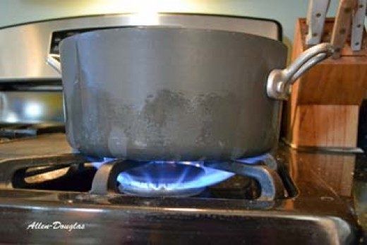 Turn the heat up to high to boil the water.