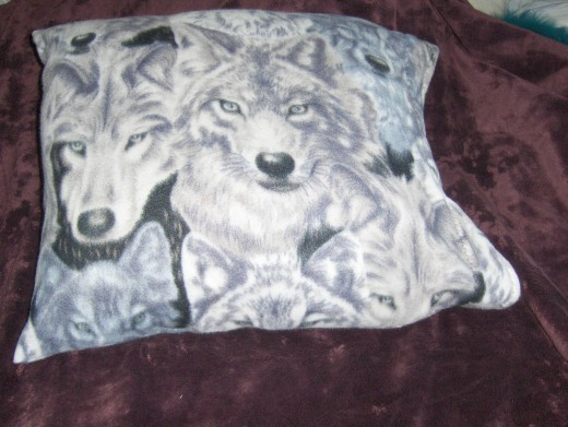 This is a pillow Case made out of the fleece The print one was used for the pillow, the solid for the bag to put the blanket it which became the same size as the pillow