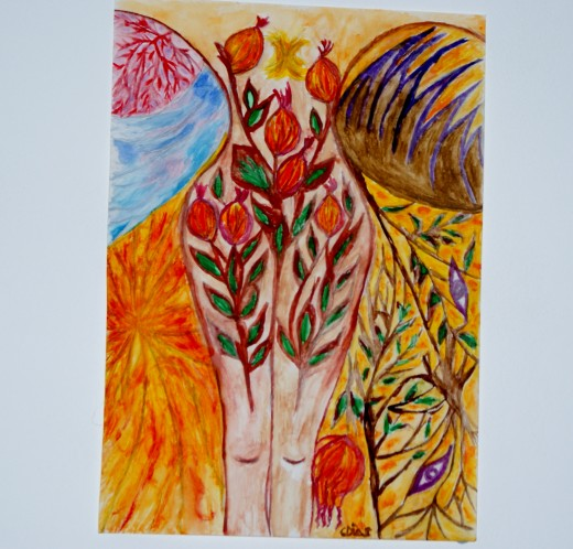 In the Garden of Bethany, watercolour by Claudia Dias