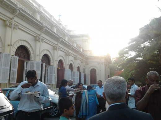 The congregation enjoying the fellowship breakfast, alongside the church, on the opposite side.