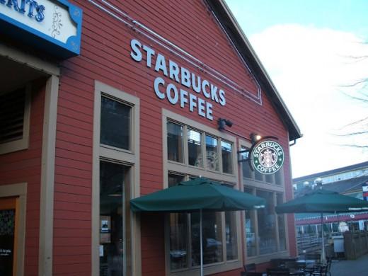 Starbucks on the Alaskan Way Waterfront in Seattle, Washington