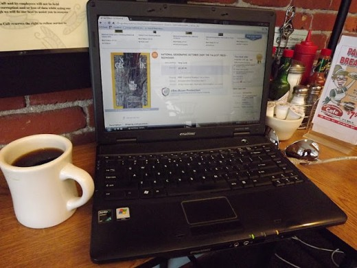 Writer's Tools--Cup of Coffee and Laptop--at Coffee Connections in Walla Walla, Washington