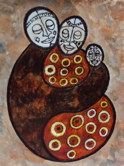 Family Unity: Abstract African Art Painting by Injete Chesoni