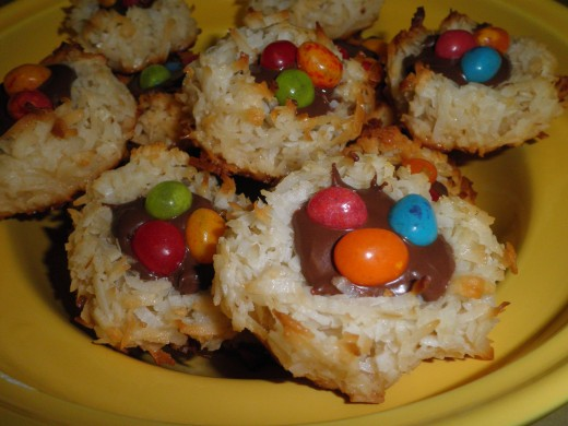 Coconut Macaroon birds nest cookies I made for Easter.