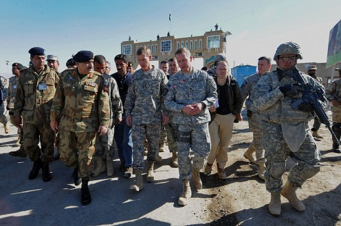 U.S. Army Gen. Stanley McChrystal, commander of the International Security Assistance Force, meets with Pakistani army Lt. Gen. Khalid Wynne, commander of Southern Command, at the Friendship Gate border crossing, in Spin Boldak, Afghanistan.