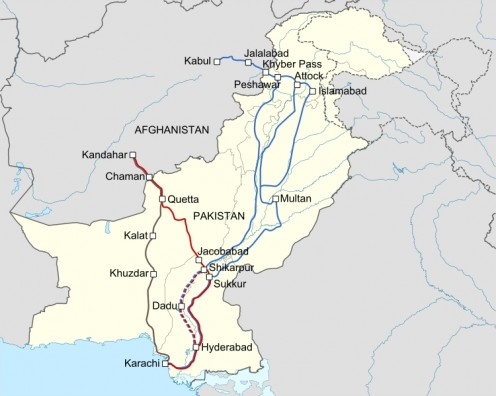 NATO supply lines crossing through the Pakistani territory.  Work derivative based on the Pakistan location map created by User:NordNordWest.